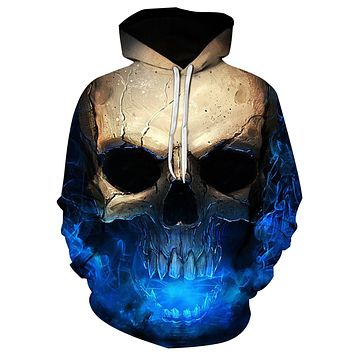 Men's 3D Effect Skull Print Pullover Draw String Hoodie
