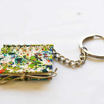 mini blank book, mini book keychain, mini craft book, valentines gift