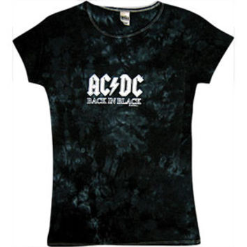 AC/DC  Back In Black Girls Jr Tie Dye Tee Black Rockabilia