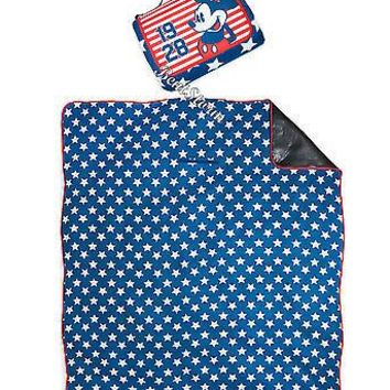 "Licensed cool Mickey Mouse 1928 Americana Stars Stripes Throw Blanket 70""x80"" Disney Store NEW"