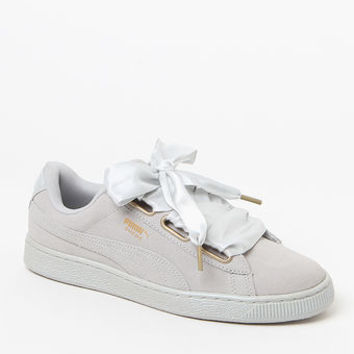 Puma Women's Gray Suede Heart Satin Sneakers at PacSun.com
