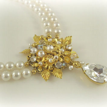 Pearl Bridal Necklace, Double Strand Swarovski Pearl Rhinestone, Edwardian Look Wedding Jewelery