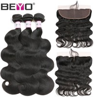 """Beyo Ear To Ear Lace Frontal Closure With Bundles Peruvian Body Wave Human Hair Bundles With Closure 13""""x 4"""" Lace Front Non Remy"""