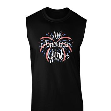 All American Girl - Fireworks and Heart Dark Muscle Shirt  by TooLoud