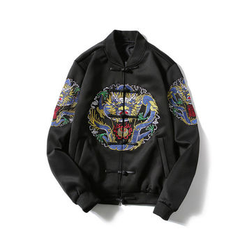 Bomber Jacket Men Casual Jacket Coat mens jackets and coats Chinese Style Qing Dynasty Dragon Embroidery 2017 Spring Plus Size