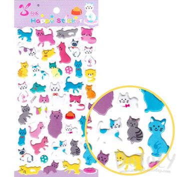Colorful Kitty Cat Cartoons Shaped Raised Stickers