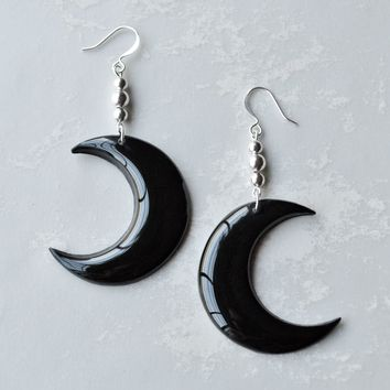 Black Moon Dangle Earrings Jewelry // Moon Jewelry, Moon Earrings, Jewellery, Witchy Jewelry, Witchy Woman, Goth, Gothic, Grunge Jewelry