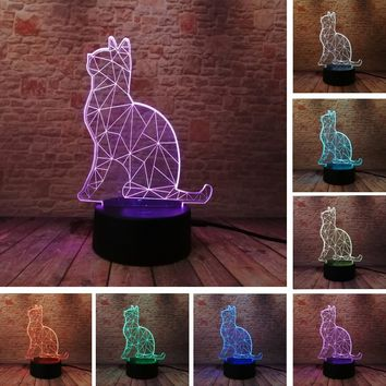 3D Cat 7 Color Changing LED Night Light Illusion Desk Lamp - Home Decor