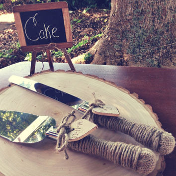 Rustic Wedding Cake Server Set  - Vintage Wedding - Country Wedding Decor - Shabby Chic Wedding - Burlap Wedding - Rustic Wedding