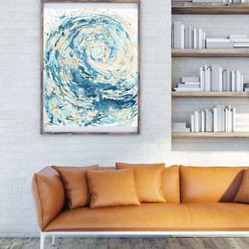 Wave I Print - Dark 8X10 version; Waves, the great wave, great wave, ocean, ocean art, ocean print, ocean decor, sea print, sea painting,sea