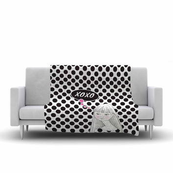 "Zara Martina Mansen ""XOXO Pop Art Polka Dot Girl"" Black White Fleece Throw Blanket"