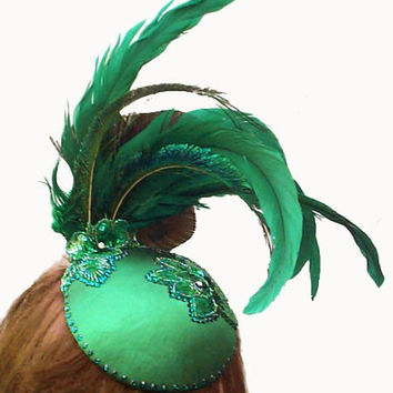 Women's hat, feather fascinator, Wicked Green Satin with Real Swarovski Crystals ANY COLOR you choose -