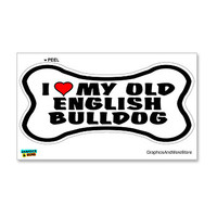 Old English Bulldog Love My Dog Bone Sticker