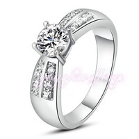 Mytys White Gold Color Engagement wedding rings prom setting Crystal shining noble design ring R255