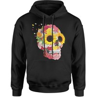Sunflower Skull Adult Hoodie Sweatshirt