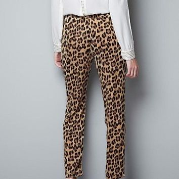 Leopard Straight Trousers