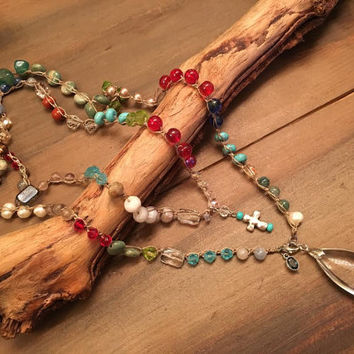 Boho Wrap Necklace, Natural Stone and Glass Beads, Cross Pendant, Colorful Beaded Necklace, Layering Necklace, Country Girl