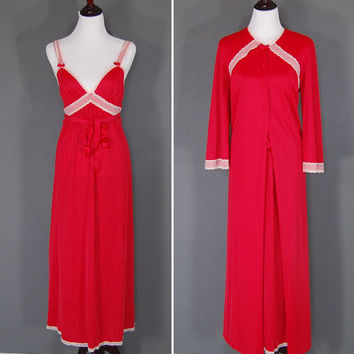 Vintage Lingerie / Nightgown Robe / Red / Two Piece / Vanity Fair