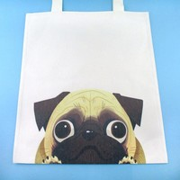 Pug Puppy Illustrated Canvas Shopper Tote Bag