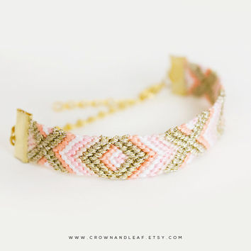 Soft Blush / XO / Gold Chain Friendship Bracelet / Woven Bracelet / Peach Pink Cream and Gold / Gold Chain Bracelet / Braided Bracelet