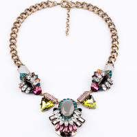 Fashion Statement Necklace Jewelry Bib Chunky Chain Necklace Crystal Necklace Bib Collar Necklace Jewelry Choker Necklace Women Prom Jewelry