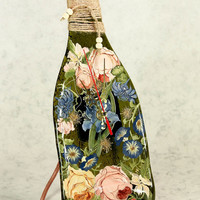 Handmade CREATIVE BOTTLE  with a CLOCK glass fusing techniques gift lovers mothers sister family amulet talisman
