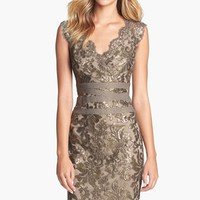 Women's Tadashi Shoji Embellished Metallic Lace Sheath Dress