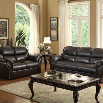 Home Elegance 8439AH-SL 2 pc stinett collection dark brown airehyde match upholstered sofa and love seat set with nail head trim