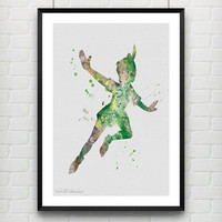 Peter Pan Disney Watercolor Art Poster Print, Baby Nursery Room Art, Kids Decor, Minimalist Home Decor Not Framed, Buy 2 Get 1 Free! [No 32]