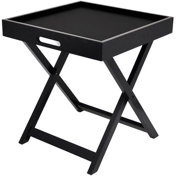 Urban Shop Side Table with Removable Tray - Black - Home Furniture - Living or Bedroom - End Tables - Modern and Sleek Design - Plastic - Can Also Be Use As Tray for Serving or Dining