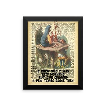 Alice in Wonderland Alice and the Caterpillar on Dictionary Page Ephemera Wall Art, Framed Poster, Framed Wall Decor