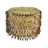 Yellow Glass Beaded & Gold Spiked Cuff Bracelet | 1stdibs.com