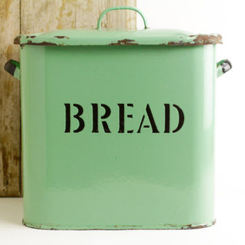 Vintage Enamel Bread Box - Farmhouse Kitchen - Storage Canister