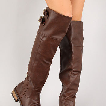 Distressed Buckle Round Toe Riding Knee High Boot