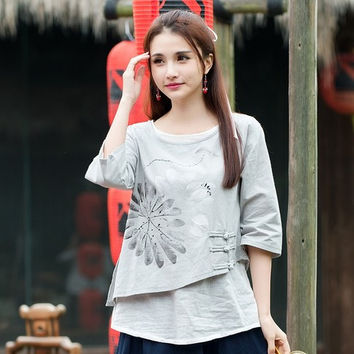 2016 Women Mexico style ethnic half sleeve o neck handmade frog grey blouse shirt top blusa Traditional Chinese clothing