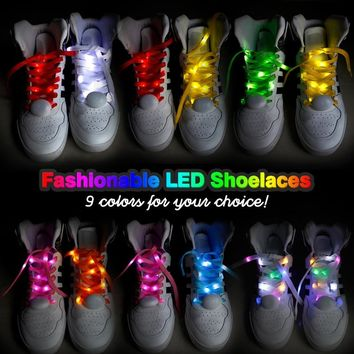 Fashionable Led Shoelaces Plastic Luminous Shoelace Colorful Accessories Party Light Shoes Nylon Shoelaces Flats Sport Sneakers