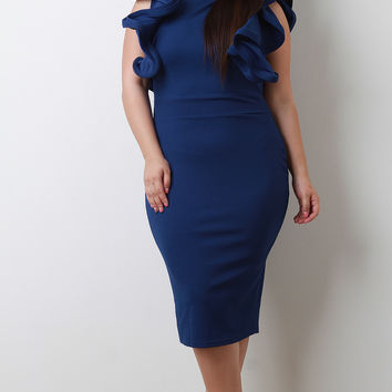 Plus Size Ruffled Sleeves Bodycon Midi Dress | UrbanOG