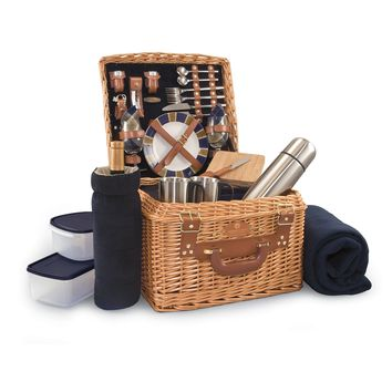 Somerset Picnic Basket in Red and Black Buffalo Plaid