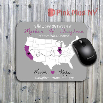 Personalized computer Mouse pad, gift idea, desk accessory - Long Distance Relationship - Mother & Daughter