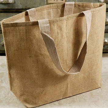 Natural Burlap Jute Tote Beach Bag, 22-inch