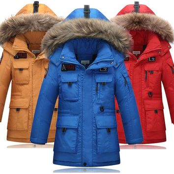 Teen Boys Winter Jackets Fur Hooded 80% White Duck Down Feather Casual Coats for Kids Boys 8,9,10,11,12,13,14 years old