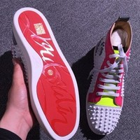 Cl Christian Louboutin Louis Spikes Style #1887 Sneakers Fashion Shoes