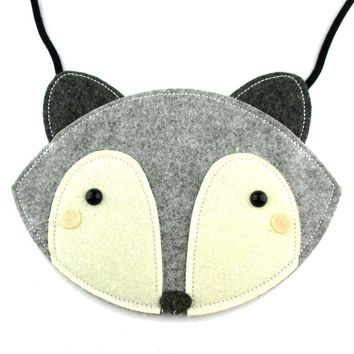 Adorable Fox Wolf Face Shaped Animal Themed Shoulder Bag for Kids in Grey Felt