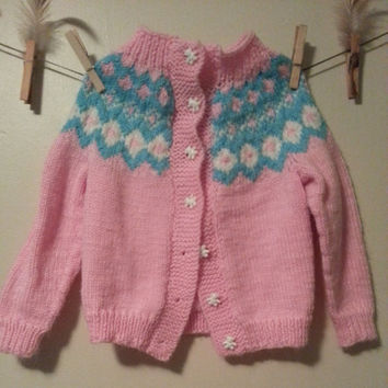 She eats Cotton Candy with Panda Bears Vintage Girl Toddler Knit Cardigan, gift for her, gift for baby, handknit sweater