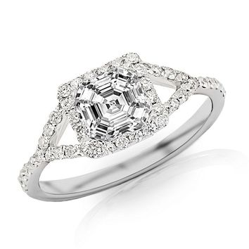 2.45 Ctw GIA Certified Asscher Cut Halo Style Diamond Engagement Ring