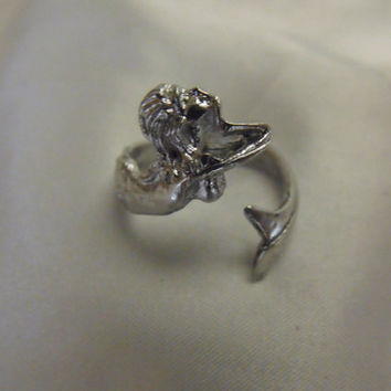 Mermaid Wrap Ring Adjustable Size Pewter by AGothShop on Etsy
