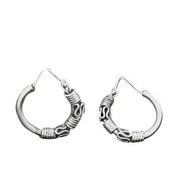 Sterling Silver Bali Style Hoops 3 Coils 2 S Waves Earring