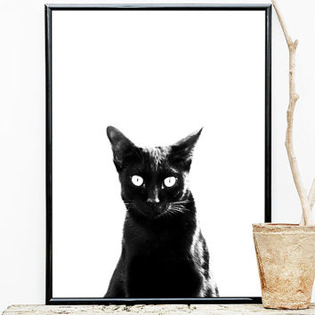 Black white wall art,black white print,black cat wall art,wall art printable, black cat print,printable,minimalist wall art,minimalist print