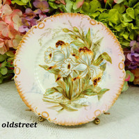 Beautiful Limoges Porcelain Hand Painted Plate ~ Flowers ~ Pink ~ Gold
