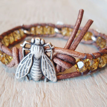 Like Bees to Honey distressed brown leather & czech by slashKnots